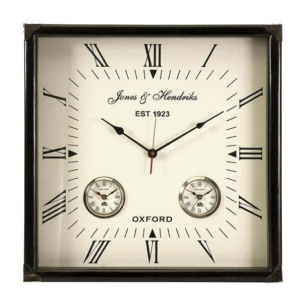 IMAX Worldwide Worldtimer Black Analog Square Indoor Wall Clock