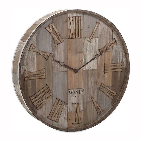 IMAX Worldwide Wine Barrel Wooden Analog Round Indoor Wall Clock