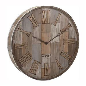 IMAX Worldwide Wine Barrel Wooden Analog Round Indoor Wall Clock