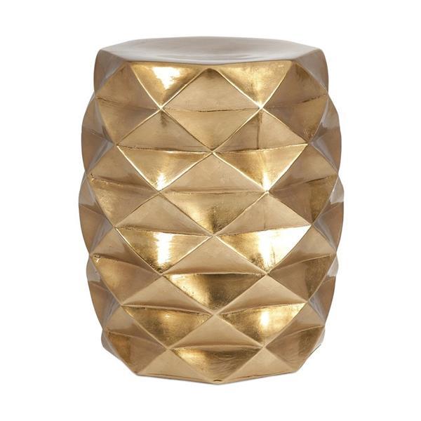 IMAX Worldwide IK Geometric 18-in Gold Ceramic Barrel Garden Stool