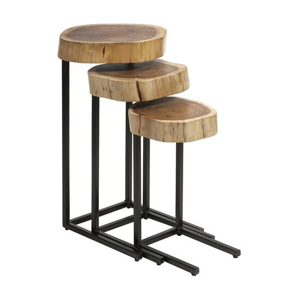 IMAX Worldwide Nadera 3-Piece Wood Acacia Accent Table Set