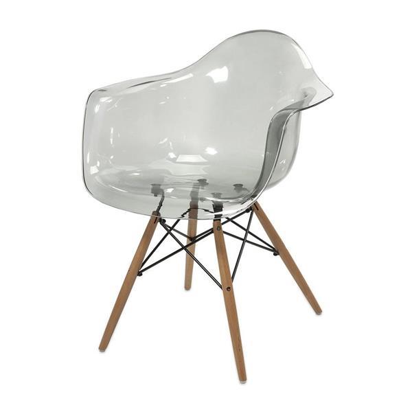 IMAX Worldwide BeckettGrey Transparent Chair with Wood Legs