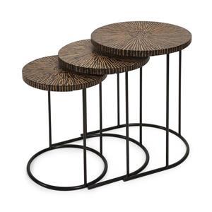 Imax Worldwide Hoki 3-Piece Coconut Shell Accent Table Set
