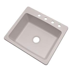Dekor Waterbury 22-in x 25-in Soft White Single-Basin Drop-In/Undermount 4-Hole Residential Kitchen Sink