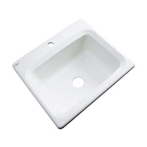 Dekor Chaumont 22-in x 25-in White Single-Basin Drop-In 1-Hole Residential Kitchen Sink