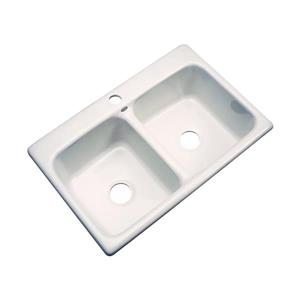 Dekor Westport 22-in x 33-in Bone Double Basin Drop-In 1-Hole Residential Kitchen Sink