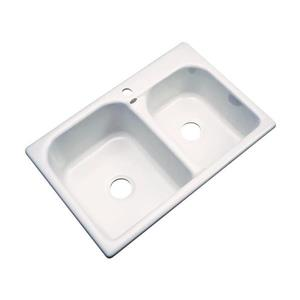Dekor Thornbury 22-in x 33-in Bone Double-Basin Drop-in 1-Hole Residential Kitchen Sink