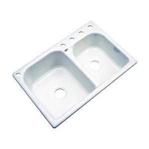 Dekor Thornbury 22-in x 33-in  White Double Basin Drop-in 5-Hole Residential Kitchen Sink