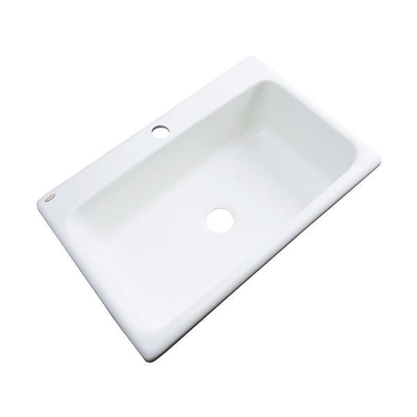 Dekor Brookwood 22-in x 33-in 1-Hole White Single-Basin Drop-In Residential Kitchen Sink