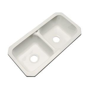 Dekor Englewood 19-in x 33-in Almond Double-Basin Undermount Residential Kitchen Sink