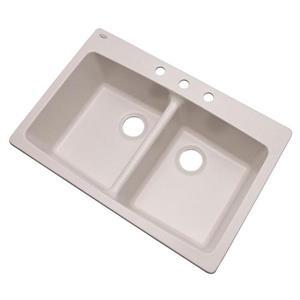 Dekor Westwood 22-in x 33-in Soft White Double-Basin Drop-in/Undermount 3-Hole Residential Kitchen Sink