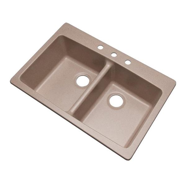 Dekor Westwood 22-in x 33-in Desert Sand Double-Basin Drop-in or Undermount 3-Hole Residential Kitchen Sink