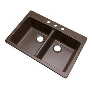 Dekor Westwood 22-in x 33-in Mocha Double Basin Drop-in/Undermount 3-Hole Residential Kitchen Sink