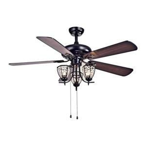 Warehouse of Tiffany Mirabelle 52-in Black Indoor Ceiling Fan With Light Kit (5 Blades)