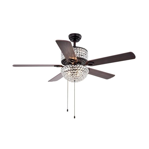 Warehouse of Tiffany 52-in Black Laure Crystal 6-Light 5-Blade Ceiling Fan