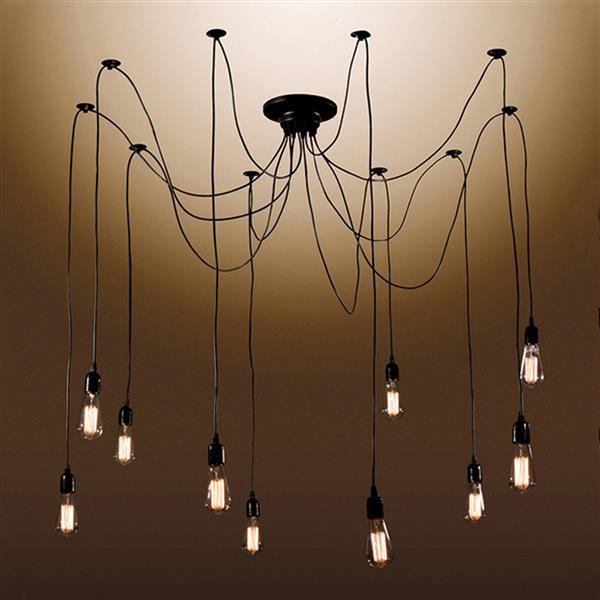 Warehouse of Tiffany 13-1 in Black 10-Light Industrial Zendaya Draped Chandelier