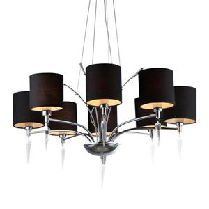 Warehouse Of Tiffany 30-in Chrome 8-Light Modern/Contemporary Shaded Chandelier