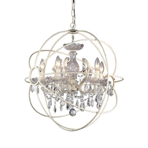 Warehouse of Tiffany Saturn's Ring 16-in  White 4-Light Glam Crystal Candle Chandelier