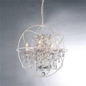 Warehouse of Tiffany Saturn's Ring 22-in White 5-Light Glam Candle Chandelier
