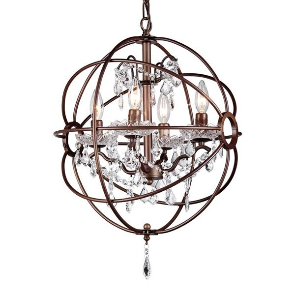 Warehouse Of Tiffany Edward's 16-in Antique Bronze 5-Light Crystal Candle Chandelier