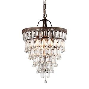 Warehouse of Tiffany 15-in Antique Bronze 4-Light Martinee Glam Waterfall Chandelier