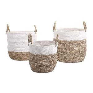 IMAX Worldwide 15.75-in x 19-in Brown White Wicker Basket (3 Pack)