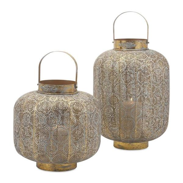 IMAX Worldwide Elliot Gold Metal Lantern Candle Holder