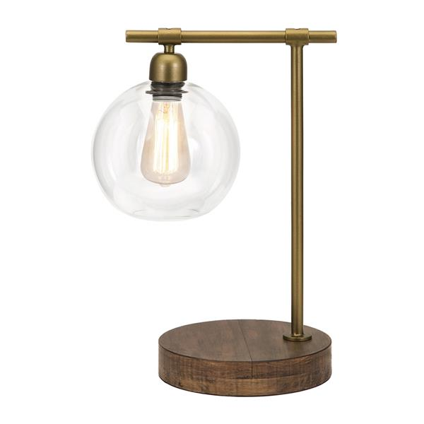 IMAX Worldwide Amplitude 18-in with Mocha Base, Brass Arm and Clear Glass Shade Table Lamp