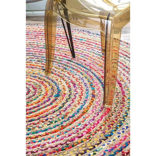 nuLOOM Aleen Braided 8-ft Round Indoor Multicolor Area Rug