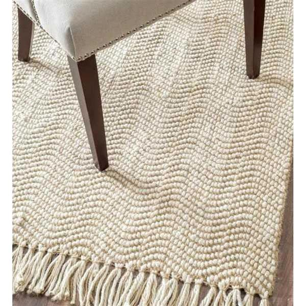 nuLOOM Don 5-ft x 8-ft Natural Off-White Handcrafted Area Rug