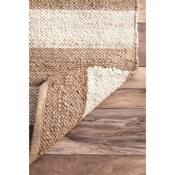 nuLOOM Flatweave Alisia Stripes 7-ft x 10-ft Rectangular Indoor Natural/Bleached Area Rug