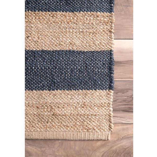 nuLOOM Flatweave Alisia Stripes 5-ft x 8-ft Rectangular Indoor Natural/Blue Area Rug