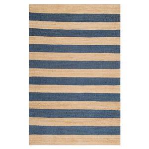 nuLOOM Flatweave Alisia Stripes 7-ft x 10-ft Rectangular Indoor Natural/Blue Area Rug