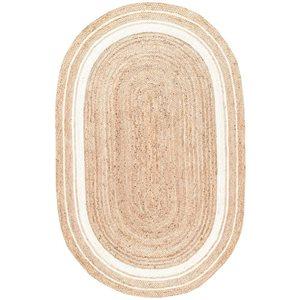nuLOOM Rikki 5-ft x 8-ft Oval Natural/Bleached Indoor Area Rug