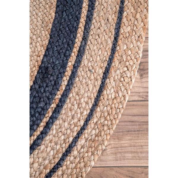 nuLOOM Rikki 5-ft x 8-ft Oval Natural/Blue Indoor Area Rug