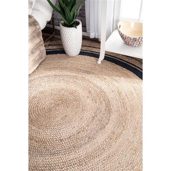 nuLOOM Rikki 8-ft Round Natural/Blue Indoor Area Rug