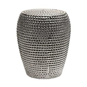 IMAX Worldwide 17.75-in Metallic Ceramic Barrel Garden Stool