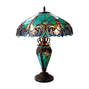 Chloe Lighting Liaison 18-in Aquamarine Stained Glass Base and Shade Table Lamp