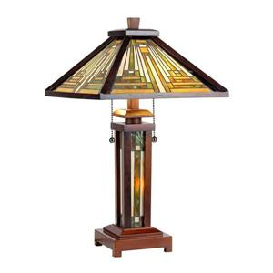 Chloe Lighting Innes Tiffany Style 25.60-in Dark Walnut Base and Multi Coloured Glass Shade Table Lamp