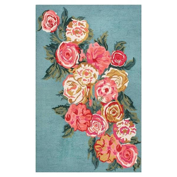 nuLOOM Rose Bouquet 5-ft x 8-ft Blue-Pink Rectangular Indoor Handcrafted Area Rug