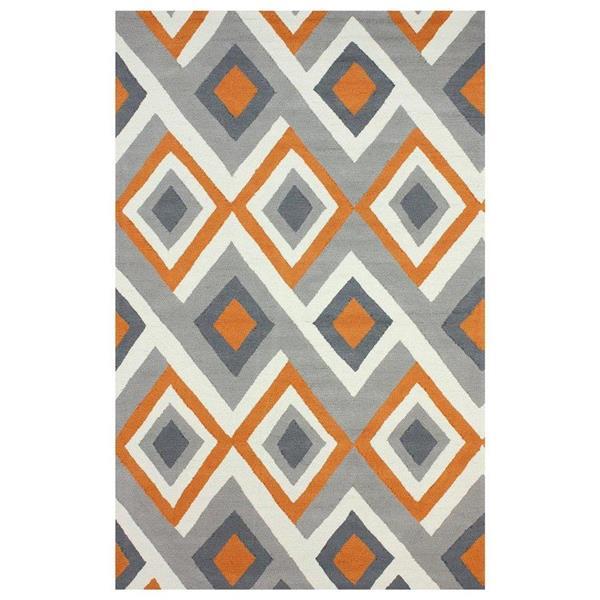 nuLOOM Barcelona 5-ft x 8-ft Rectangular Indoor Gray and Orange Anya Area Rug