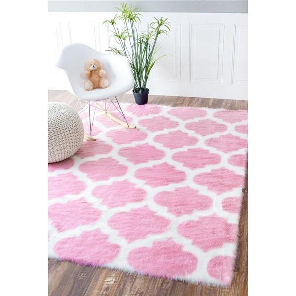 nuLOOM Block Island 7-ft x 9-ft Rectangular Pink Indoor Area Rug