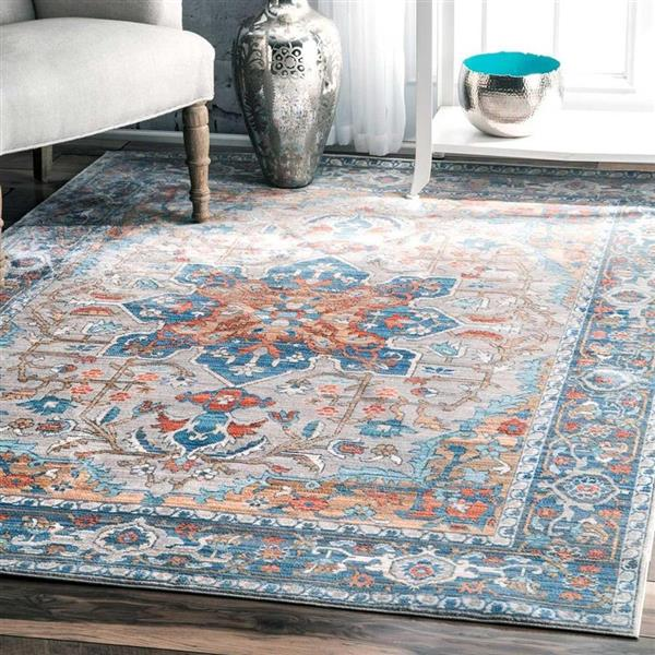 nuLOOM Caterina 5-ft x 8-ft Blue Handcrafted Area Rug