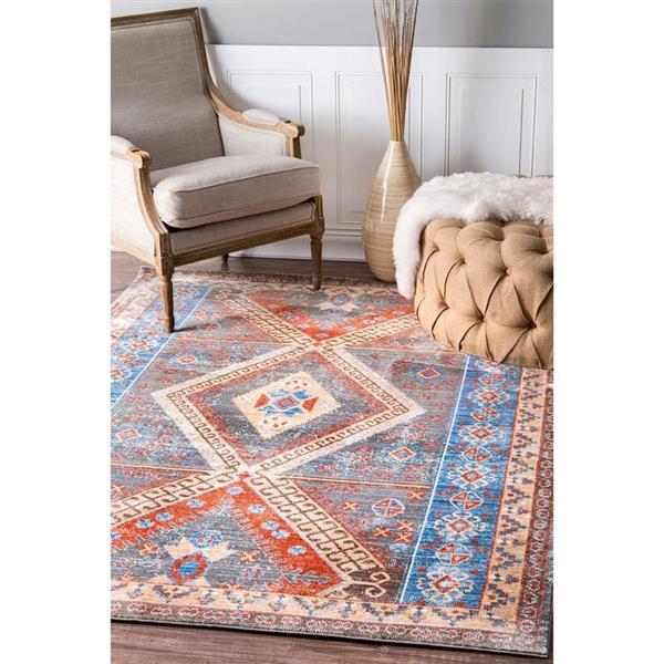 nuLOOM Renda 5-ft x 8-ft Rectangular Blue And Orange Indoor Area Rug