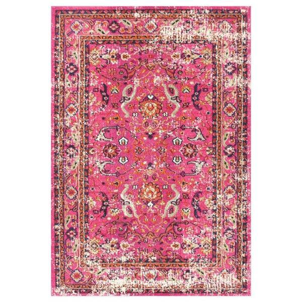 nuLOOM Distressed Floral Anabel 5-ft x 8-ft Rectangular Indoor Pink Area Rug