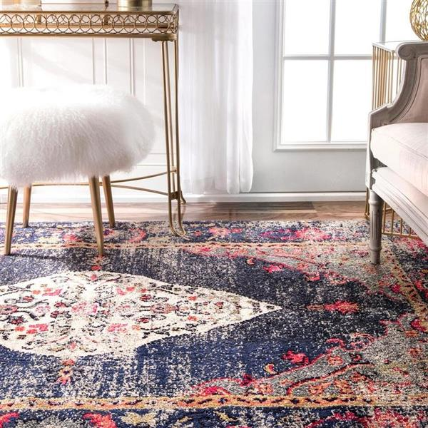 nuLOOM Veronica 5-ft x 8-ft Rectangular Blue Indoor Area Rug