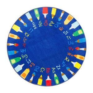 nuLOOM Rainbow Alphabet 8-ft Round Blue Indoor Kids Area Rug