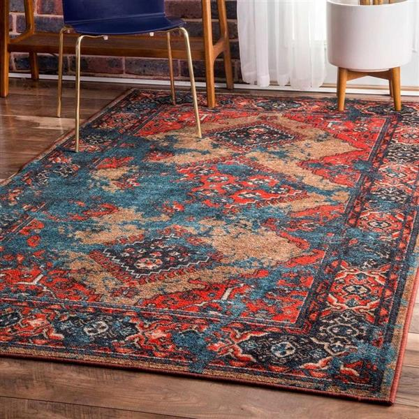 nuLOOM Lavonna 7-ft x 9-ft Red/Multi-Color Distressed Tribal Area Rug