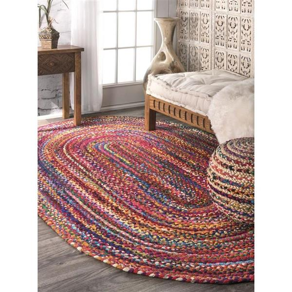 nuLOOM Tammara 5-ft x 8-ft Multi-Colored Oval Indoor Handcrafted Area Rug