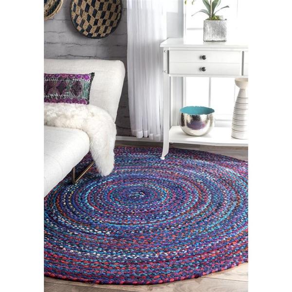 nuLOOM Tammara 8-ft x 8-ft Blue Round Indoor Handcrafted Area Rug
